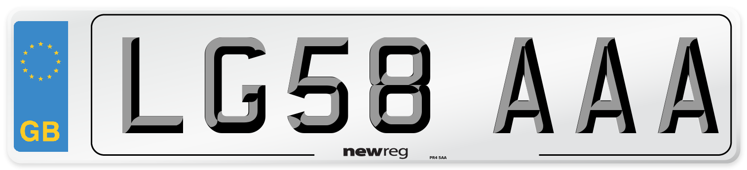 LG58 AAA Number Plate from New Reg